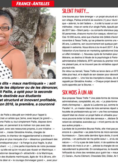 La bourse Paille : Tessa Trèfle dans le France-Antilles du 27 septembre 2017